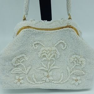 Vintage White Hand Beaded Hong Kong Handbag